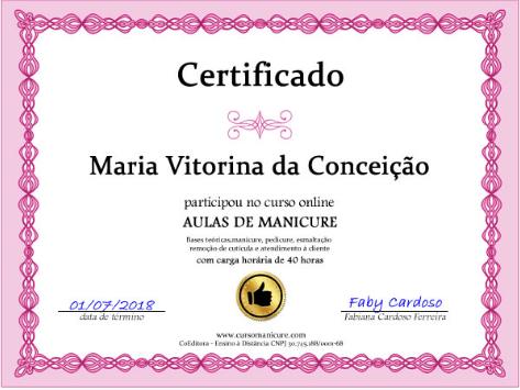 Aulas de Manicure Com Faby Cardoso - certificado