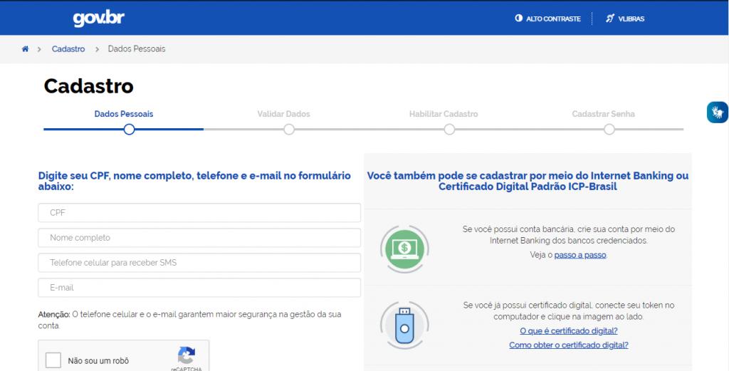 Cadastro Portal do Governo